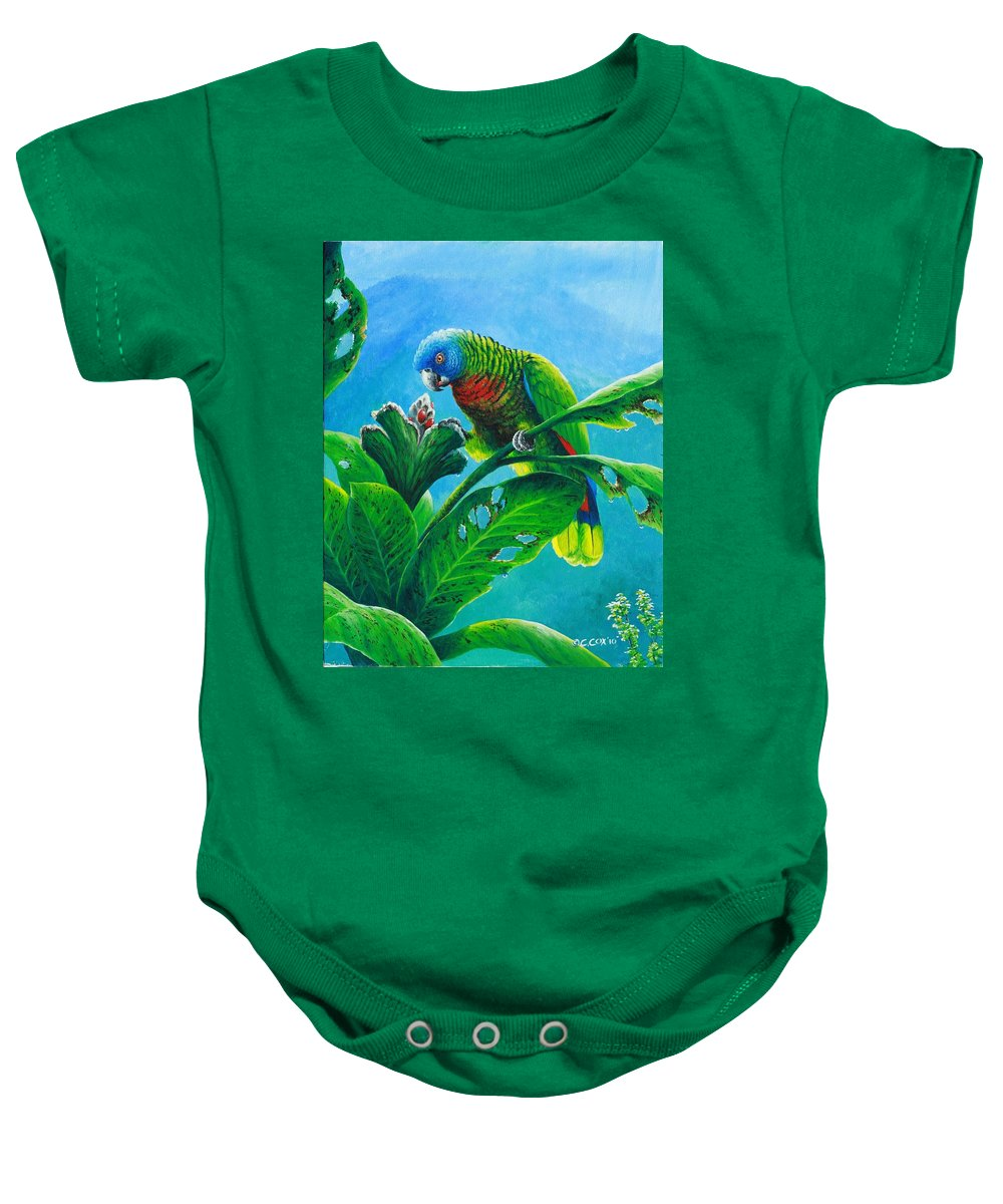 St. Lucia Parrot Baby Onesie featuring the painting St. Lucia Parrot And Bwa Pain Marron by Christopher Cox