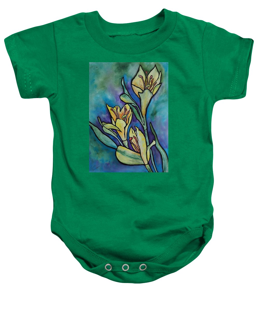 Flowers Baby Onesie featuring the painting Stained Glass Flowers by Ruth Kamenev
