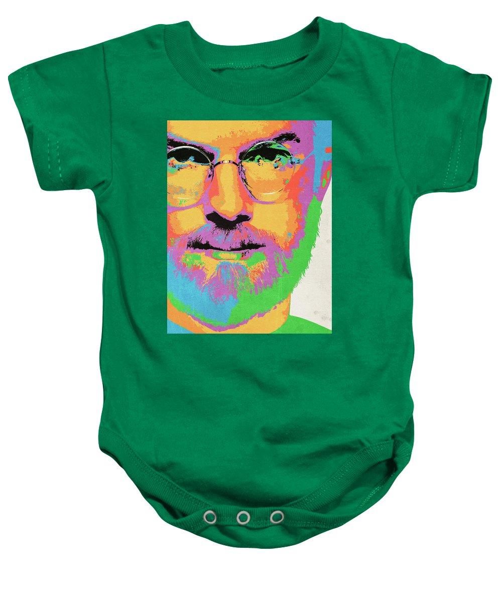Steve Jobs Baby Onesie featuring the digital art Steve Jobs by Geek N Rock