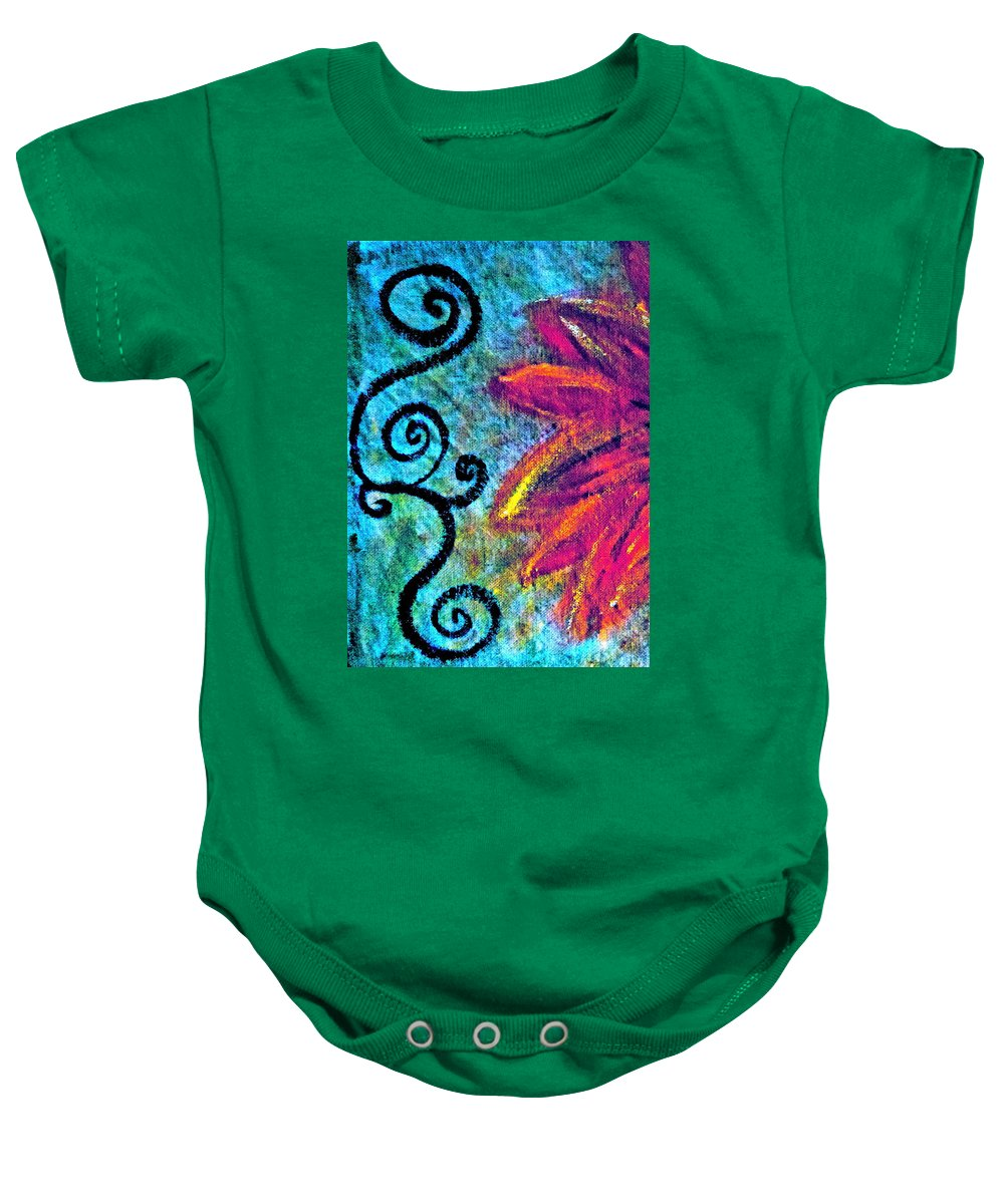 Painting Of Purple Flower Baby Onesie featuring the mixed media Sunny Day Purple by Gwyn Newcombe