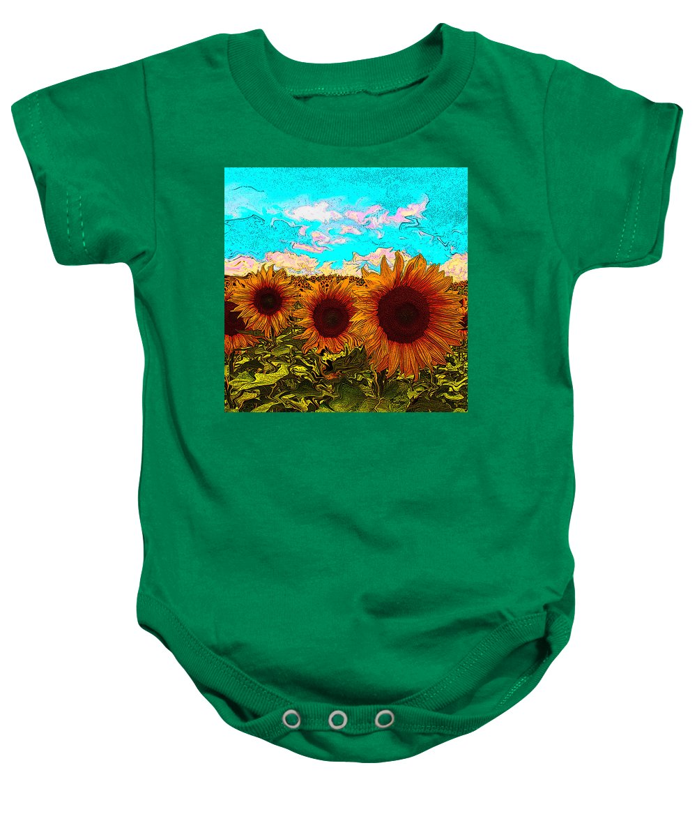 Sunflowers Baby Onesie featuring the painting Sunny Faces- Sunflower Art by Kathy Symonds