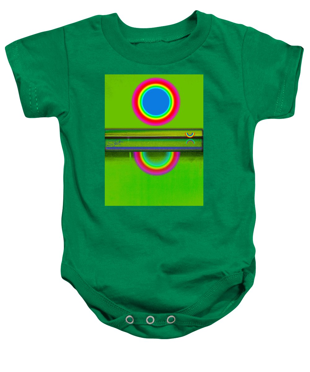 Reflections Baby Onesie featuring the painting Sunset On Green by Charles Stuart