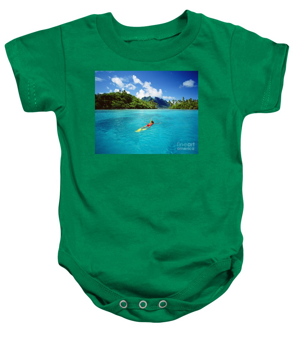 Above Baby Onesie featuring the photograph Tahiti, Bora Bora by Ron Dahlquist - Printscapes