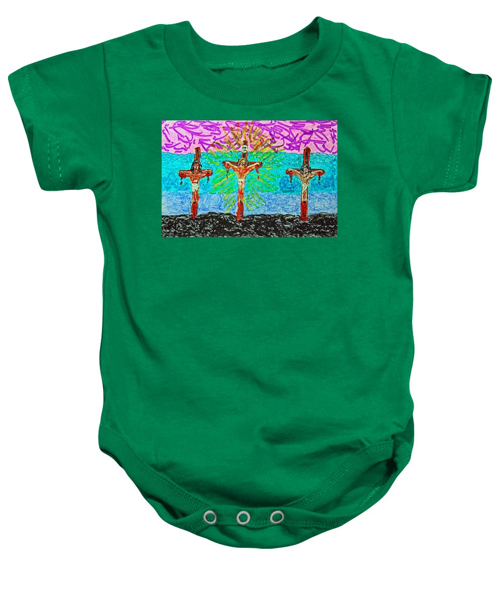 Abstract Baby Onesie featuring the painting Thank God For Good Friday 3 by Carl Deaville
