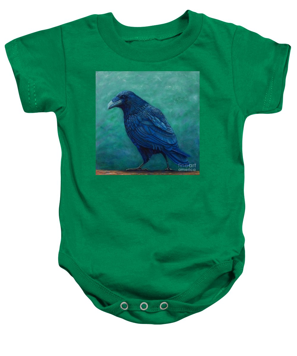 Raven Baby Onesie featuring the painting The Ancient One by Brian Commerford