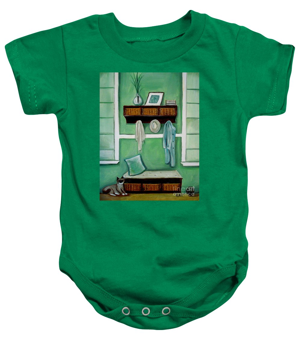 Beach Baby Onesie featuring the painting The Beach House by Elizabeth Robinette Tyndall