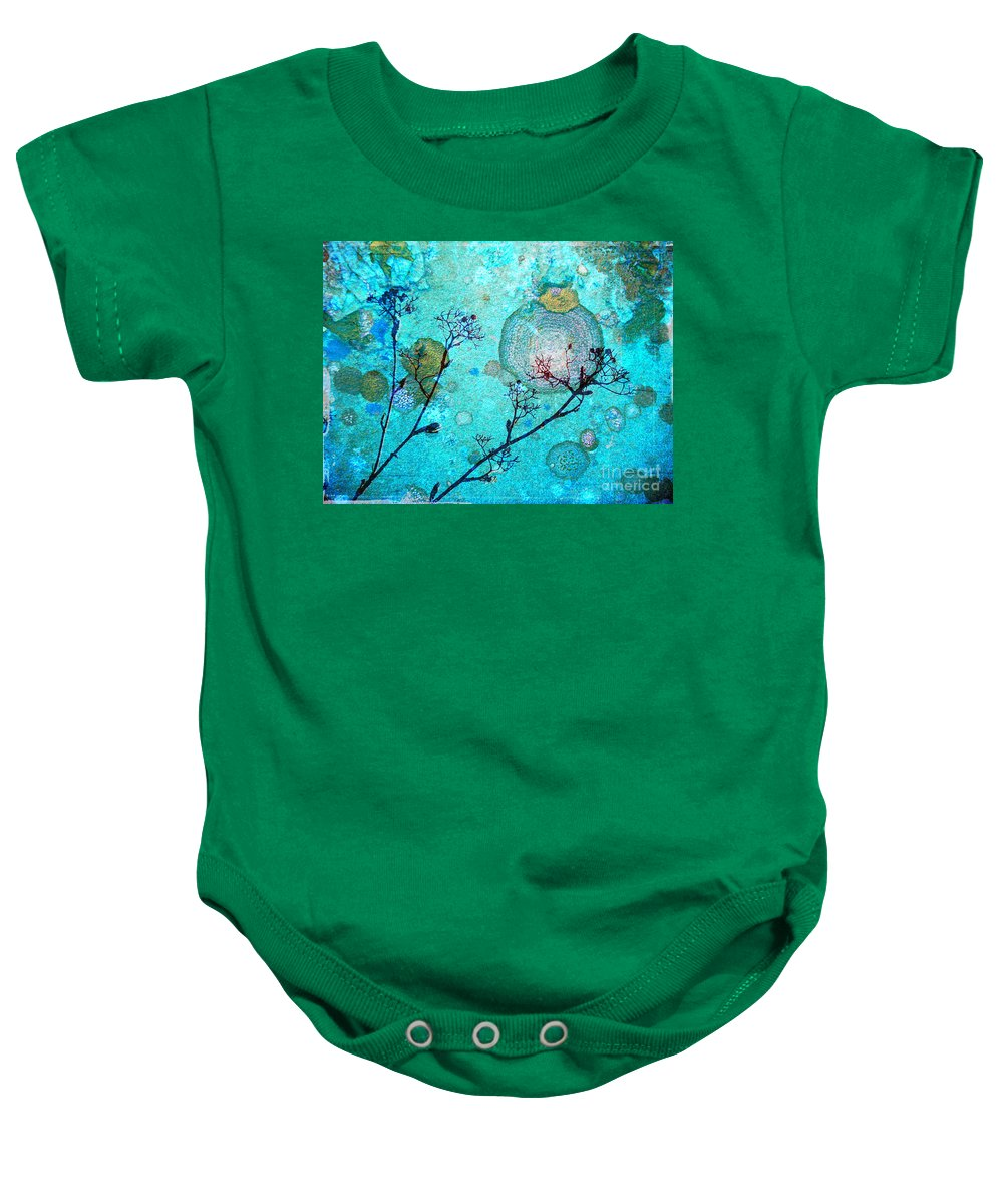 Rust Baby Onesie featuring the photograph The Branches And The Moon by Tara Turner