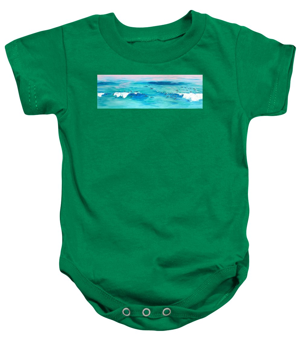 Waves Baby Onesie featuring the painting The Happy Beach by Eva Olga Balazs