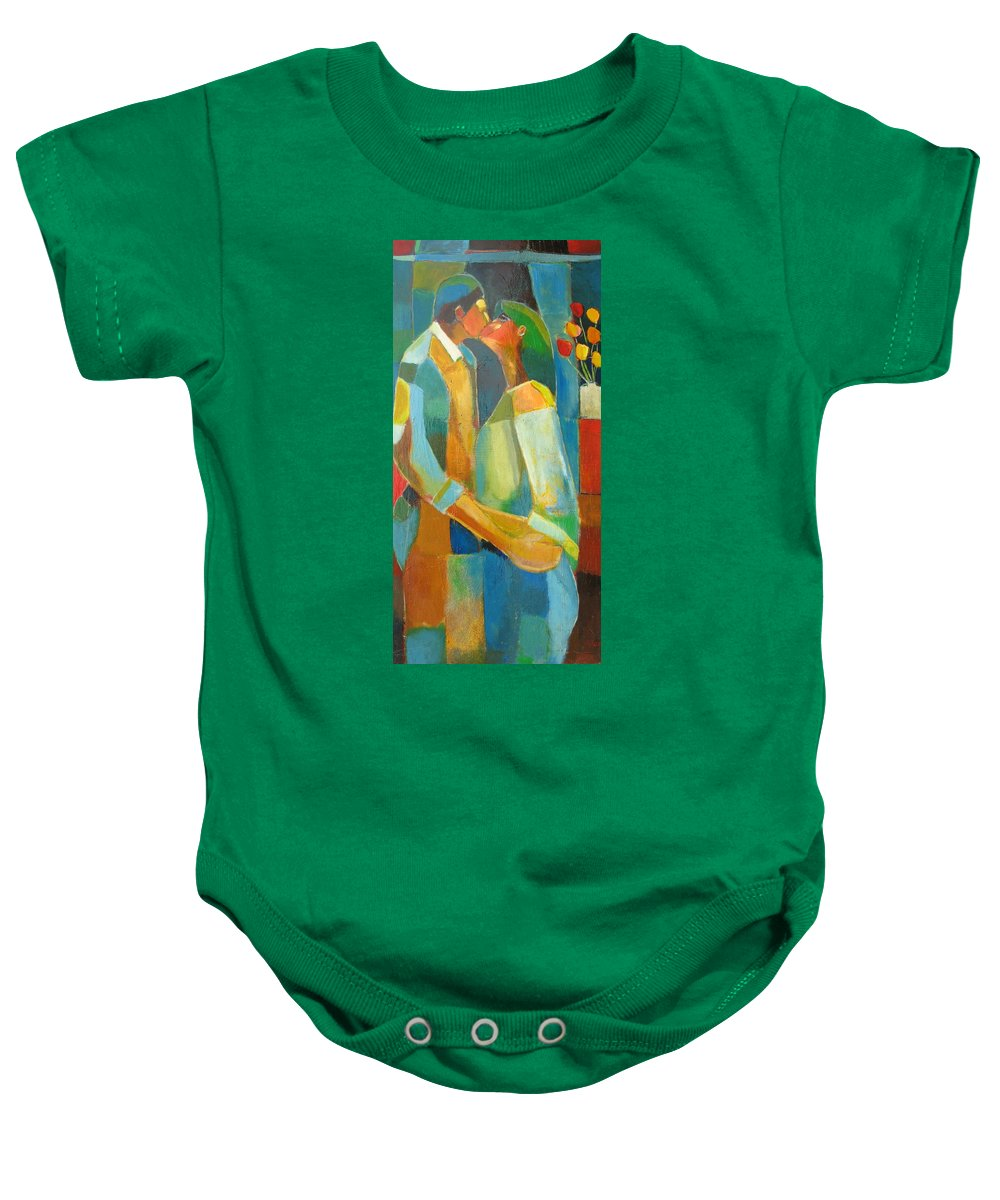 Love Abstract Baby Onesie featuring the painting The Sweet Kiss by Habib Ayat