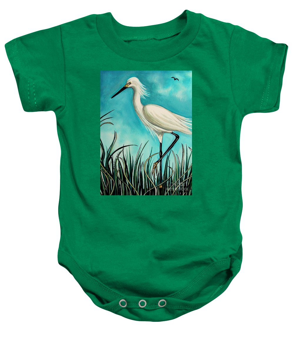 Bird Baby Onesie featuring the painting The White Egret by Elizabeth Robinette Tyndall