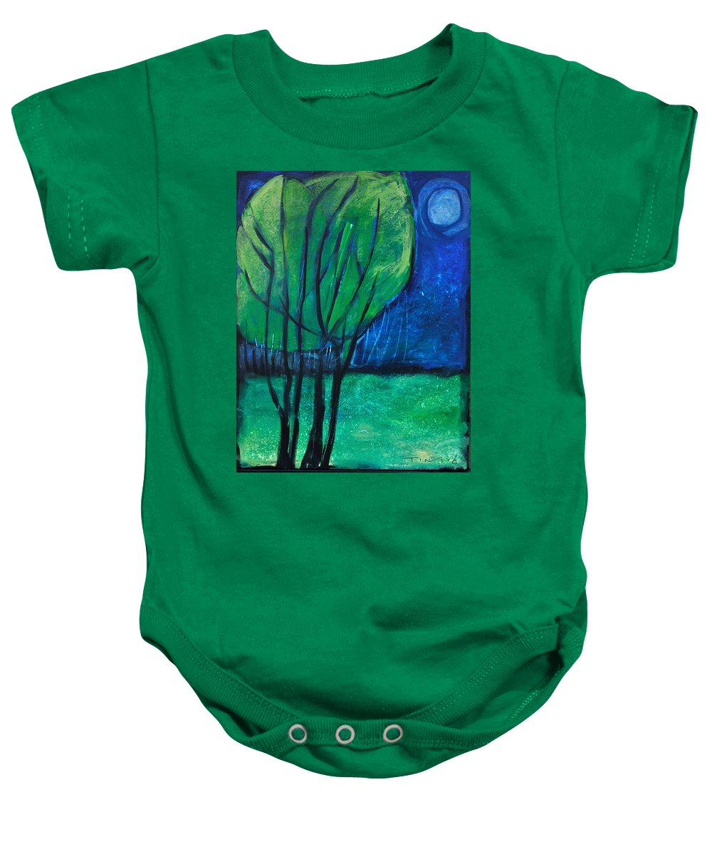 Trees Baby Onesie featuring the painting Then Came Evening by Tim Nyberg