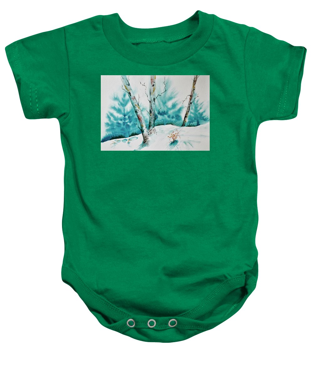 Tree Baby Onesie featuring the painting Three Aspens On A Snowy Slope by Beverley Harper Tinsley