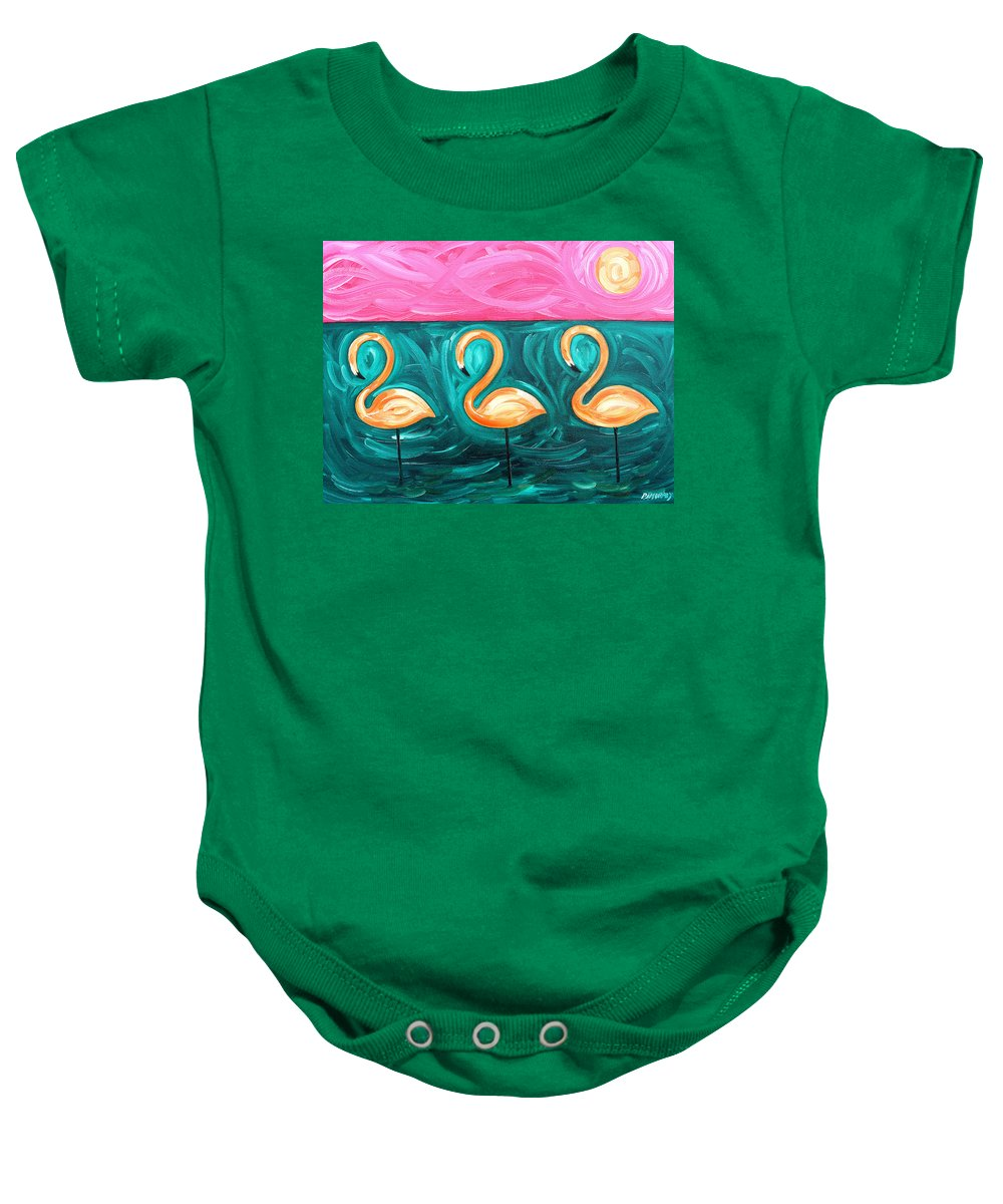Flamingo Baby Onesie featuring the painting Three Flamingoes by Patrick J Murphy