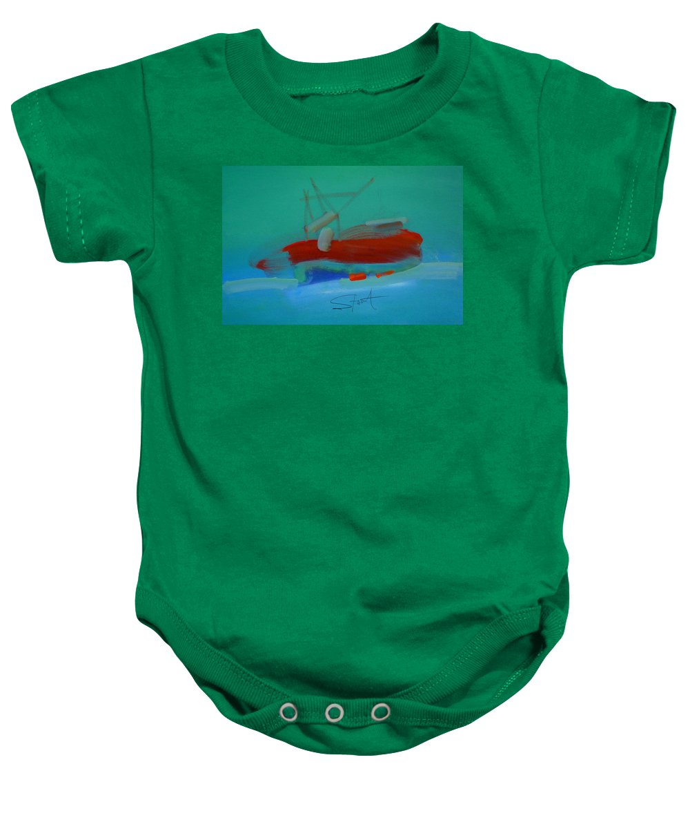 Fishing Boat Baby Onesie featuring the painting Trawler by Charles Stuart