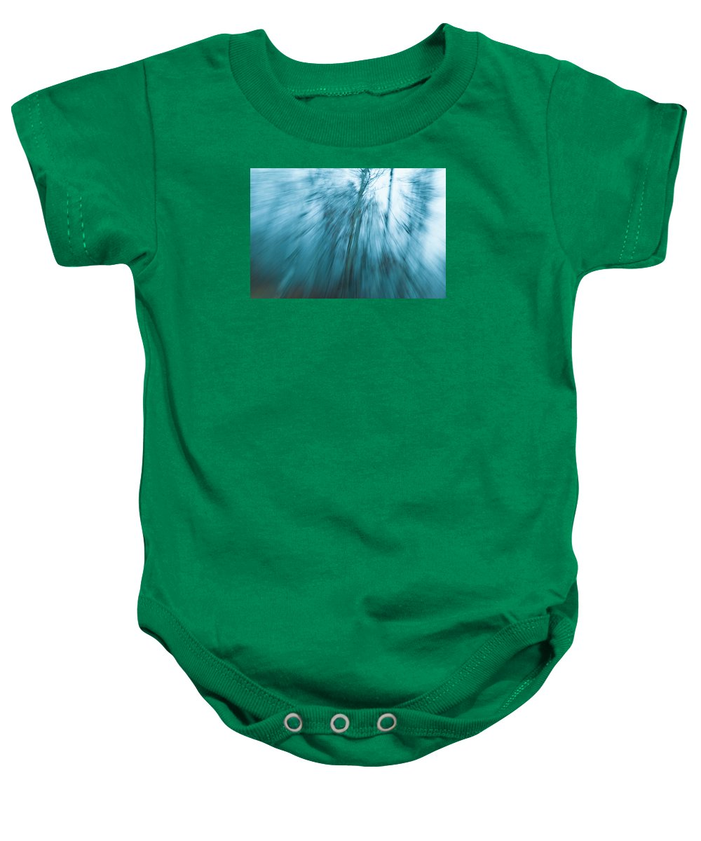 Natural Tree Photography Baby Onesie featuring the photograph Tree Blurr by Kendra Keir