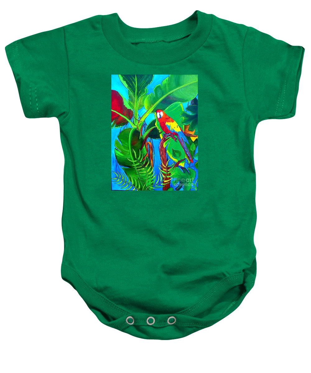 Tropical Baby Onesie featuring the painting Tropical Flame by Inna Montano