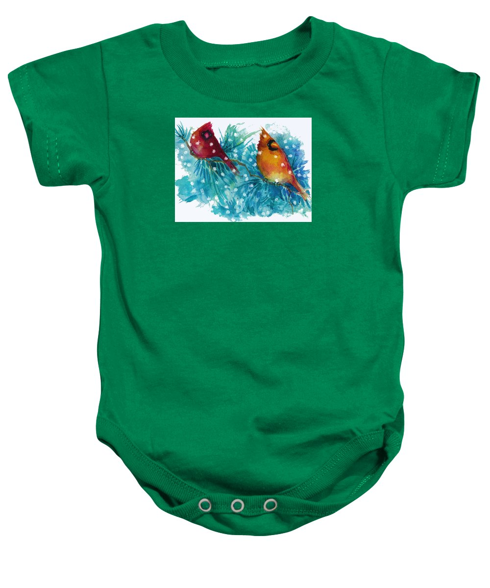 Birds Baby Onesie featuring the painting Two Cardinals by Peggy Wilson