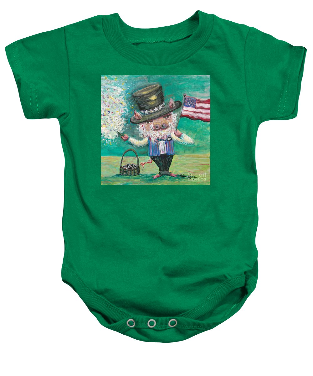 Fourth Of July Baby Onesie featuring the painting Uncle Spam by Nadine Rippelmeyer