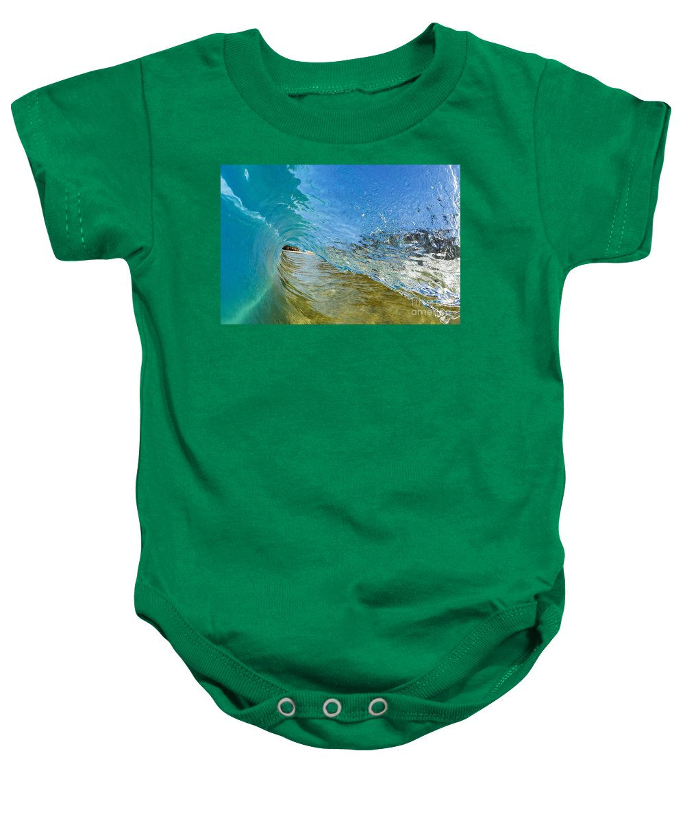 Amazing Baby Onesie featuring the photograph Under Breaking Wave by MakenaStockMedia - Printscapes