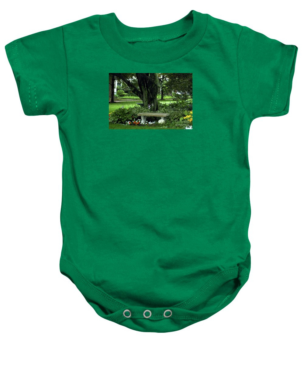 Tree Baby Onesie featuring the photograph Under The Tree by Kathleen Struckle