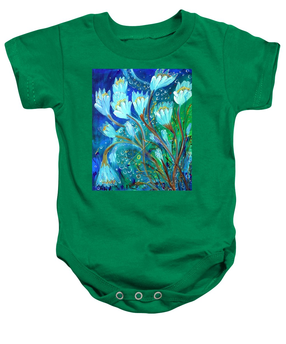 Flowers Baby Onesie featuring the painting Water Flowers by Luiza Vizoli