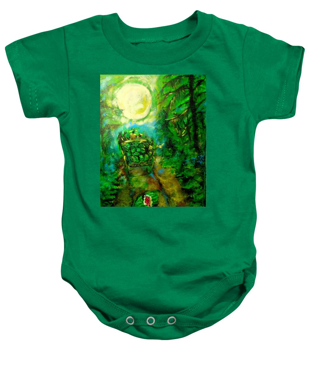 Watermelon Wagon Moon Baby Onesie featuring the painting Watermelon Wagon Moon by Seth Weaver