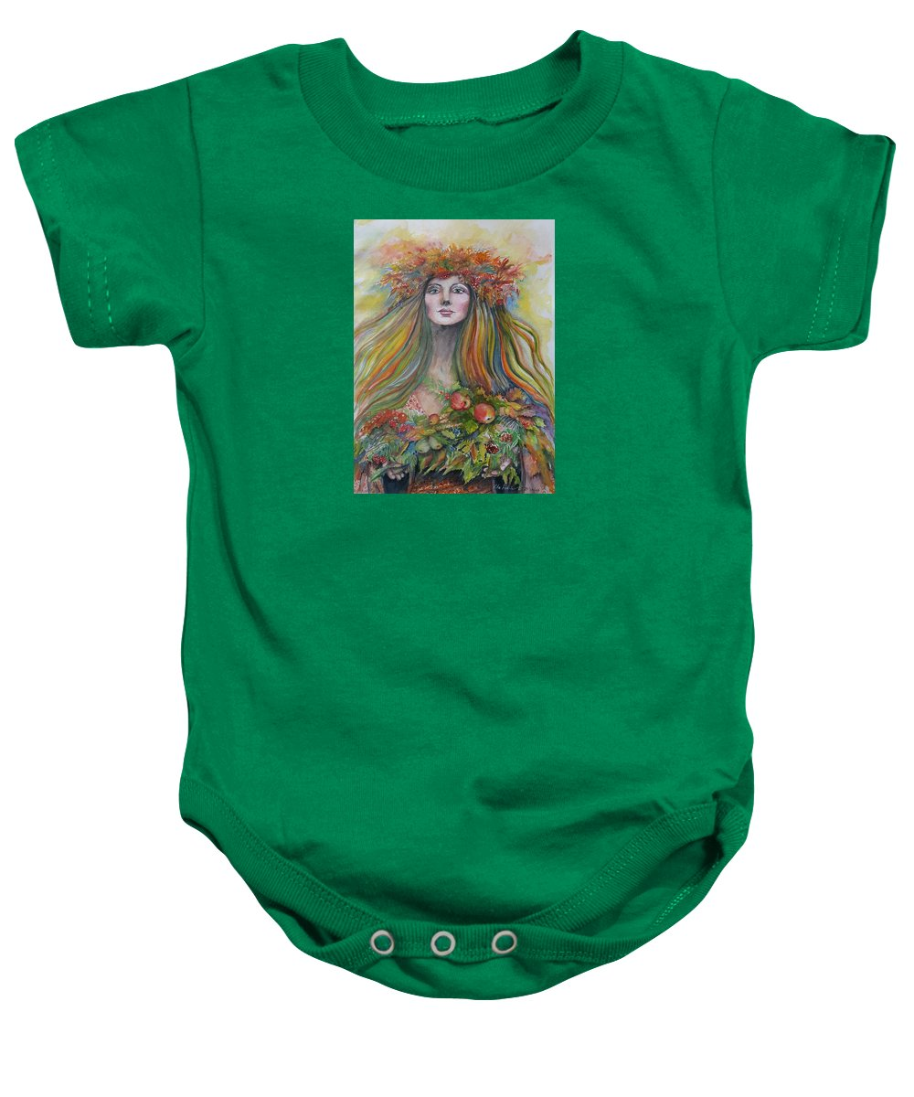 Autumn Baby Onesie featuring the painting Welcome To Autumn by Rita Fetisov