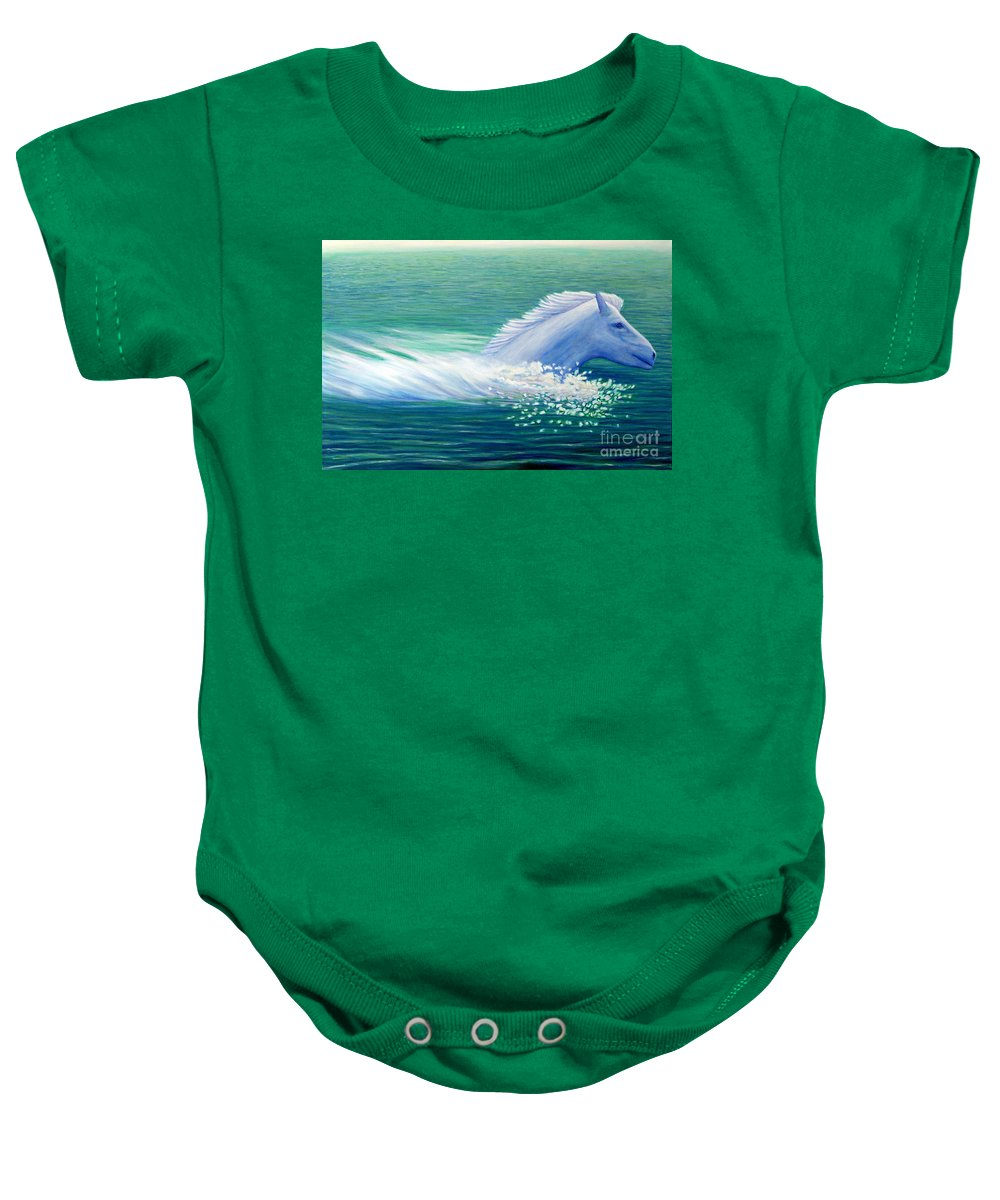 Horse Baby Onesie featuring the painting Will Power by Brian Commerford