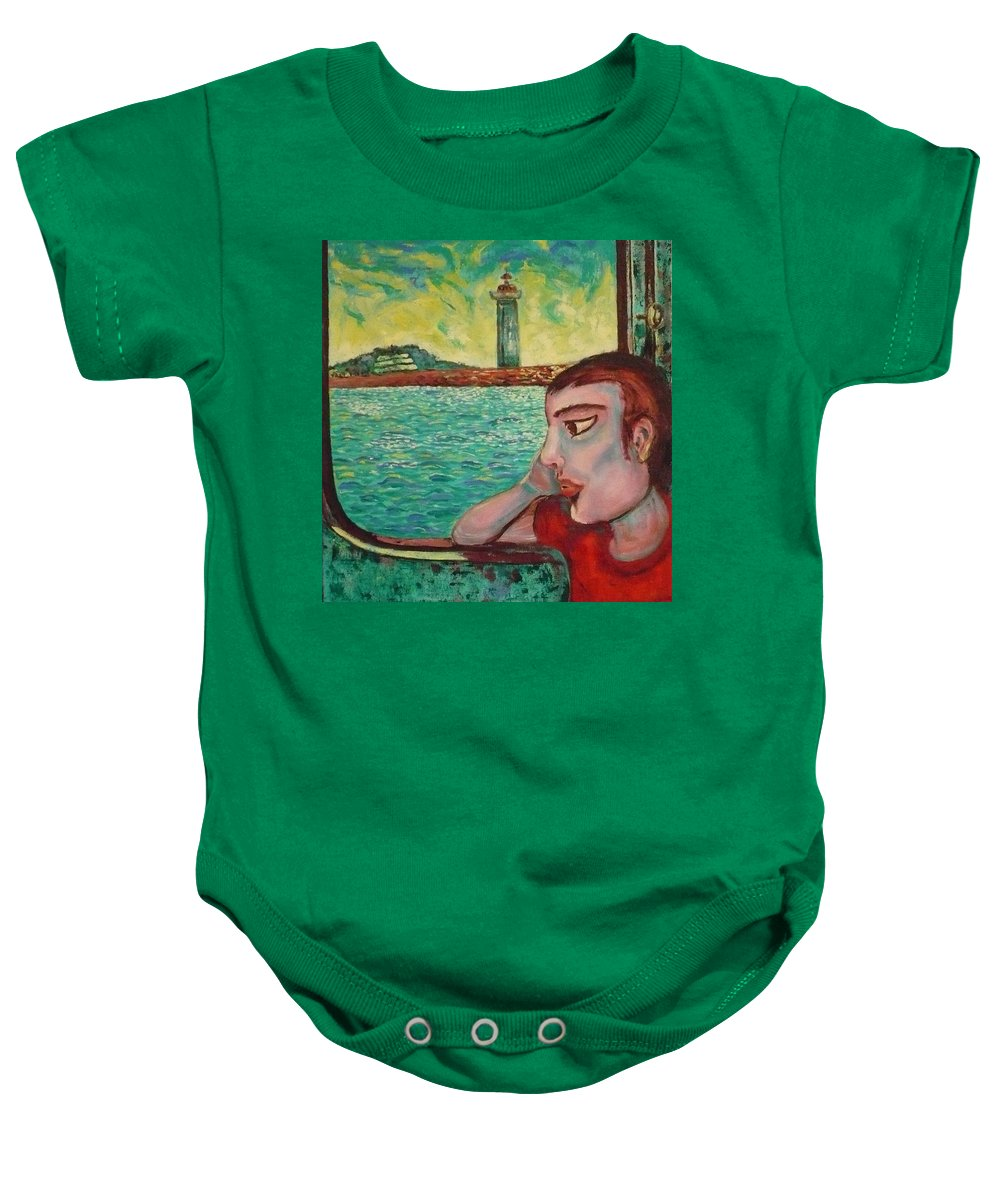Window Baby Onesie featuring the painting Young Man In A Window by Ericka Herazo