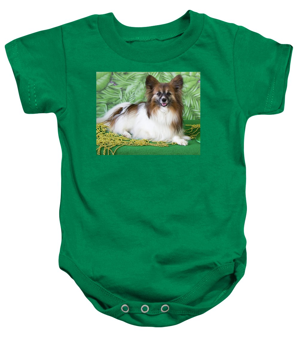 Papillon Baby Onesie featuring the photograph Papillon On Green by Donna Anderson