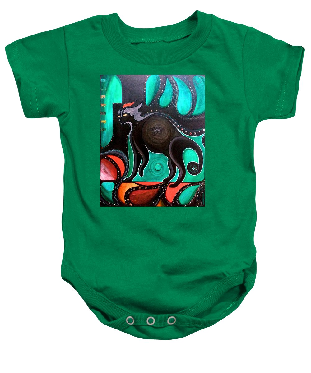 Cat Baby Onesie featuring the painting Pyewacket Noir by John Lyes