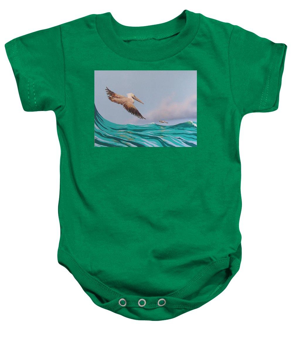 Pelicans Baby Onesie featuring the painting Surfing by Philip Fleischer