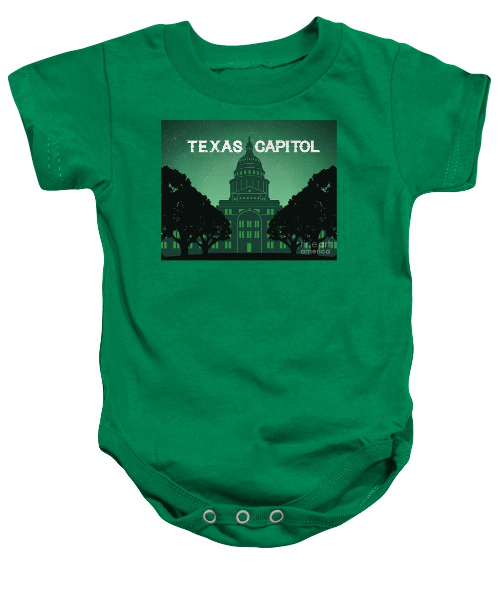 Texas State Capitol Baby Onesie featuring the digital art Texas State Capitol by Austin Bat Tours