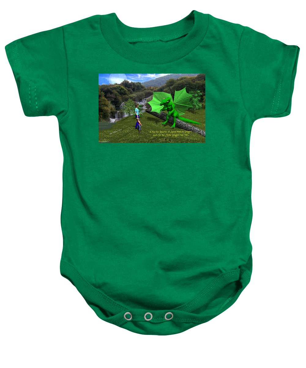 Baby Onesie featuring the digital art There Be Dragons by Bob Shimer