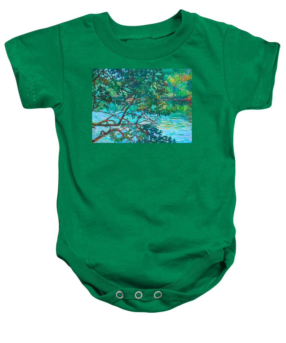 Landscape Baby Onesie featuring the painting Bisset Park by Kendall Kessler