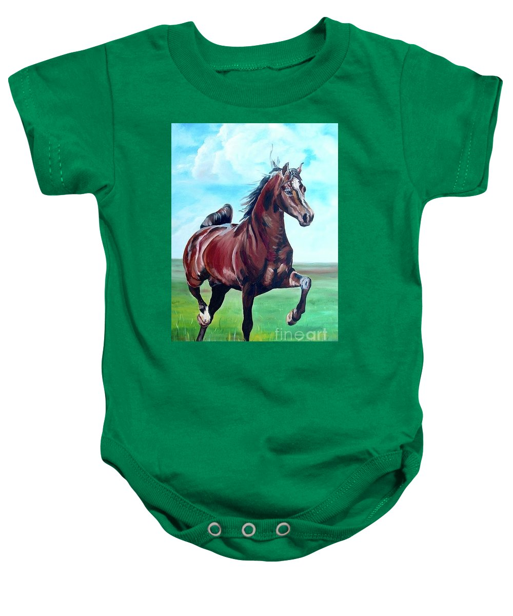 Horse Baby Onesie featuring the painting Lovely by Gina De Gorna
