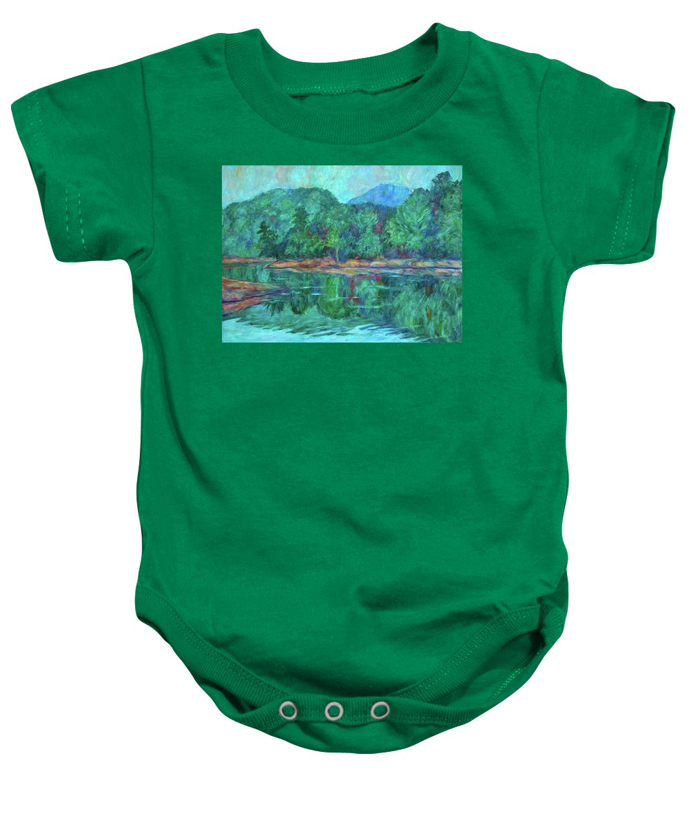 Landscape Baby Onesie featuring the painting Misty Morning at Carvins Cove by Kendall Kessler