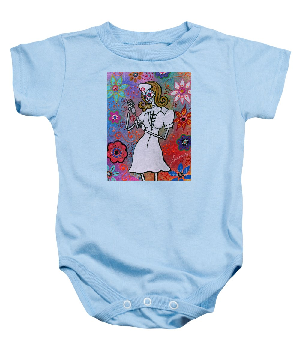 Nurse Baby Onesie featuring the painting Dia De Los Muertos Nurse by Pristine Cartera Turkus