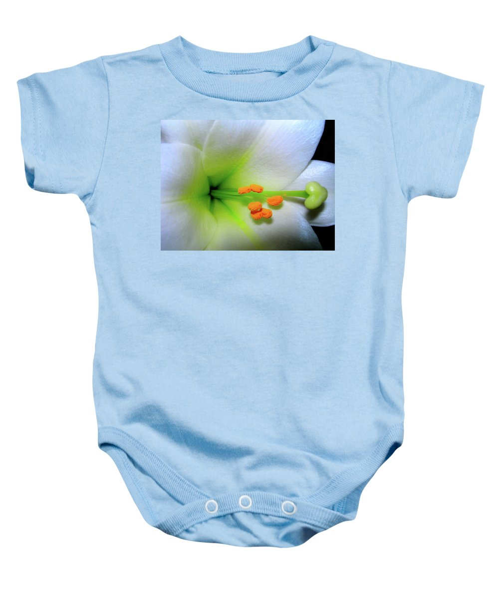 Lilies Baby Onesie featuring the photograph  Easter A New Beginning by Randy Rosenberger