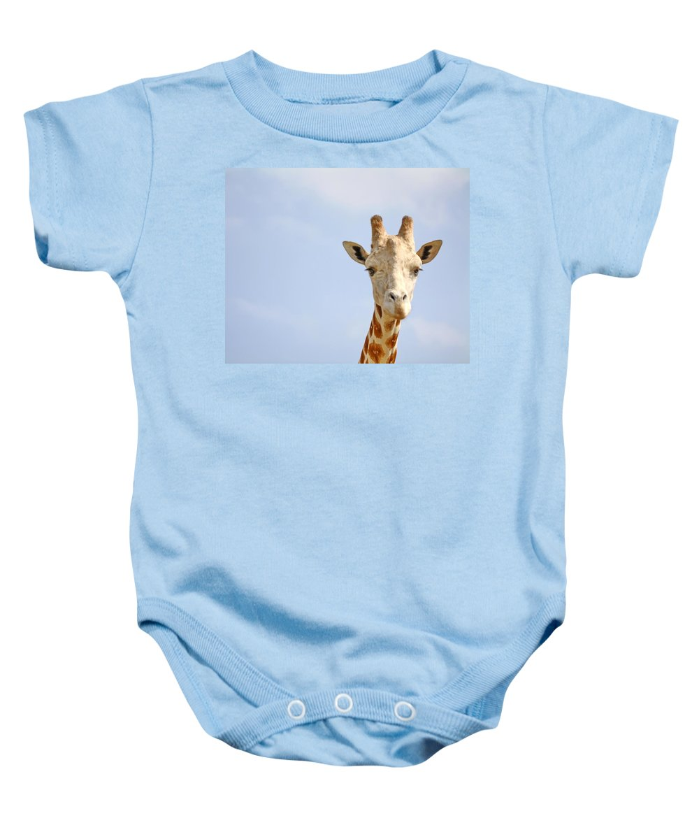 Giraffe Baby Onesie featuring the photograph Friendly Giraffe by Terry Fleckney