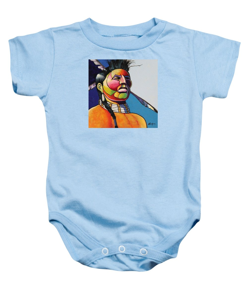 Native American Baby Onesie featuring the painting Indian Portrait by Joe Triano