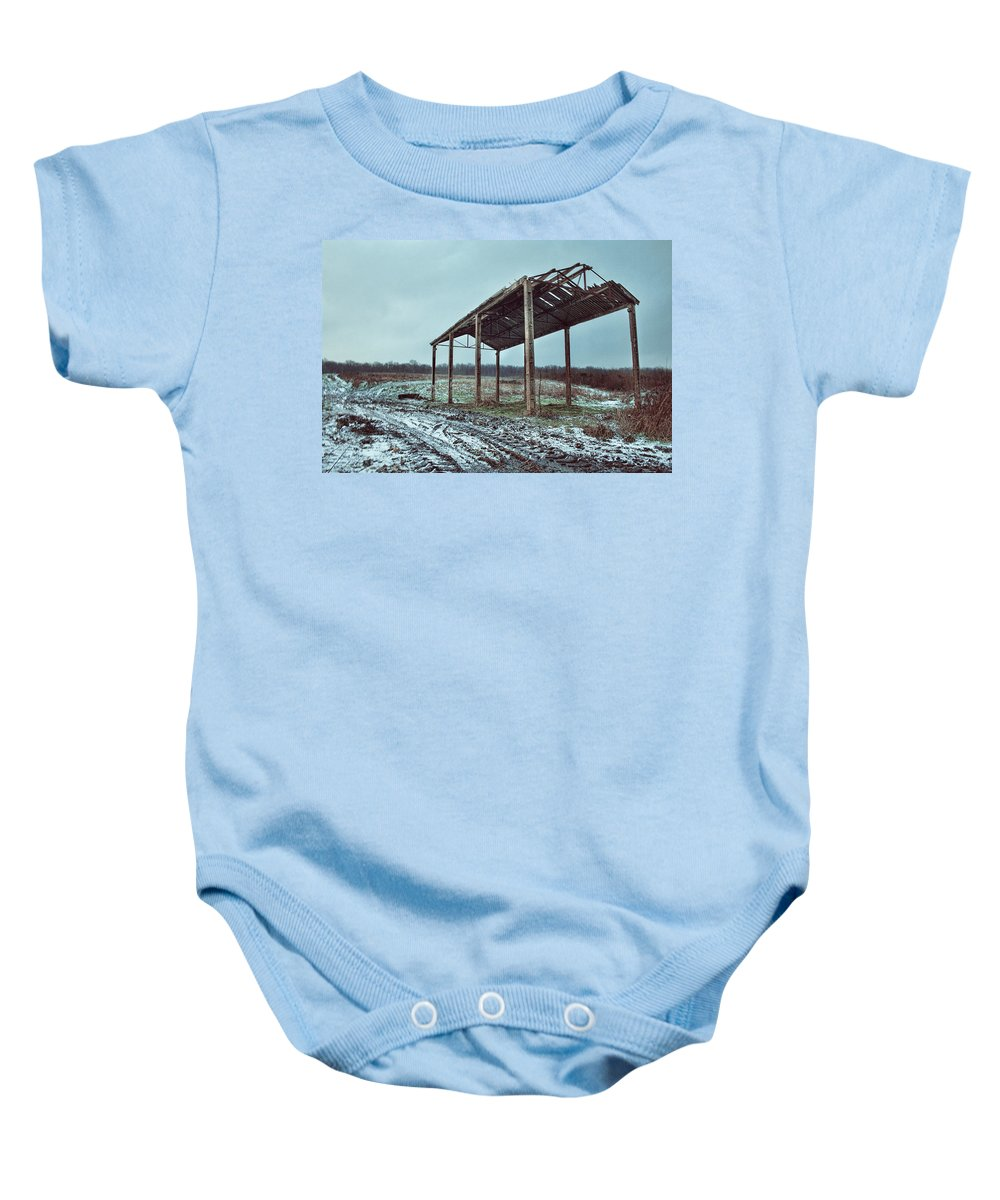 Barn In The Snow Baby Onesie featuring the photograph Old Barn In The Snow by Dave Godden