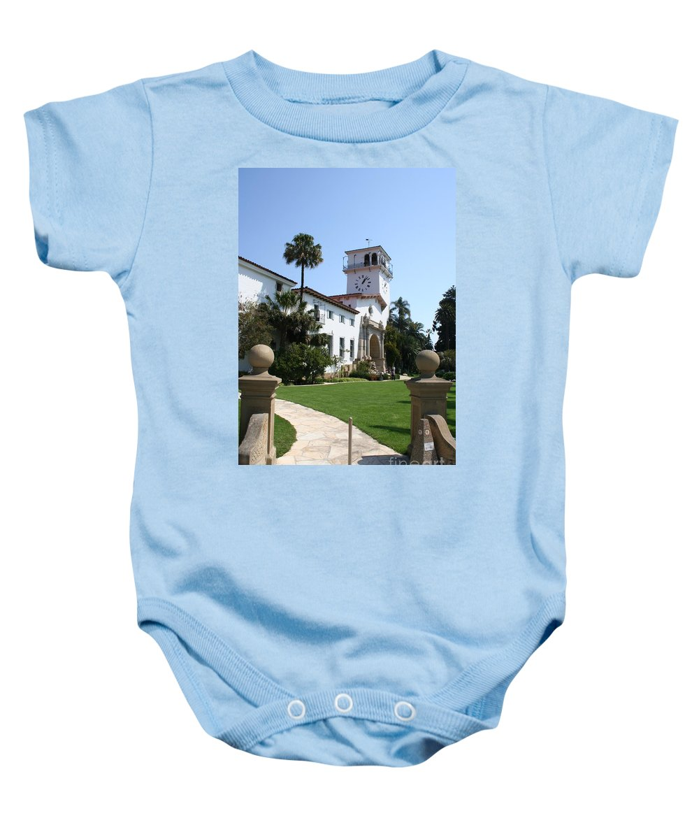 Courthouse Baby Onesie featuring the photograph Santa Barbara Courthouse by Christiane Schulze Art And Photography