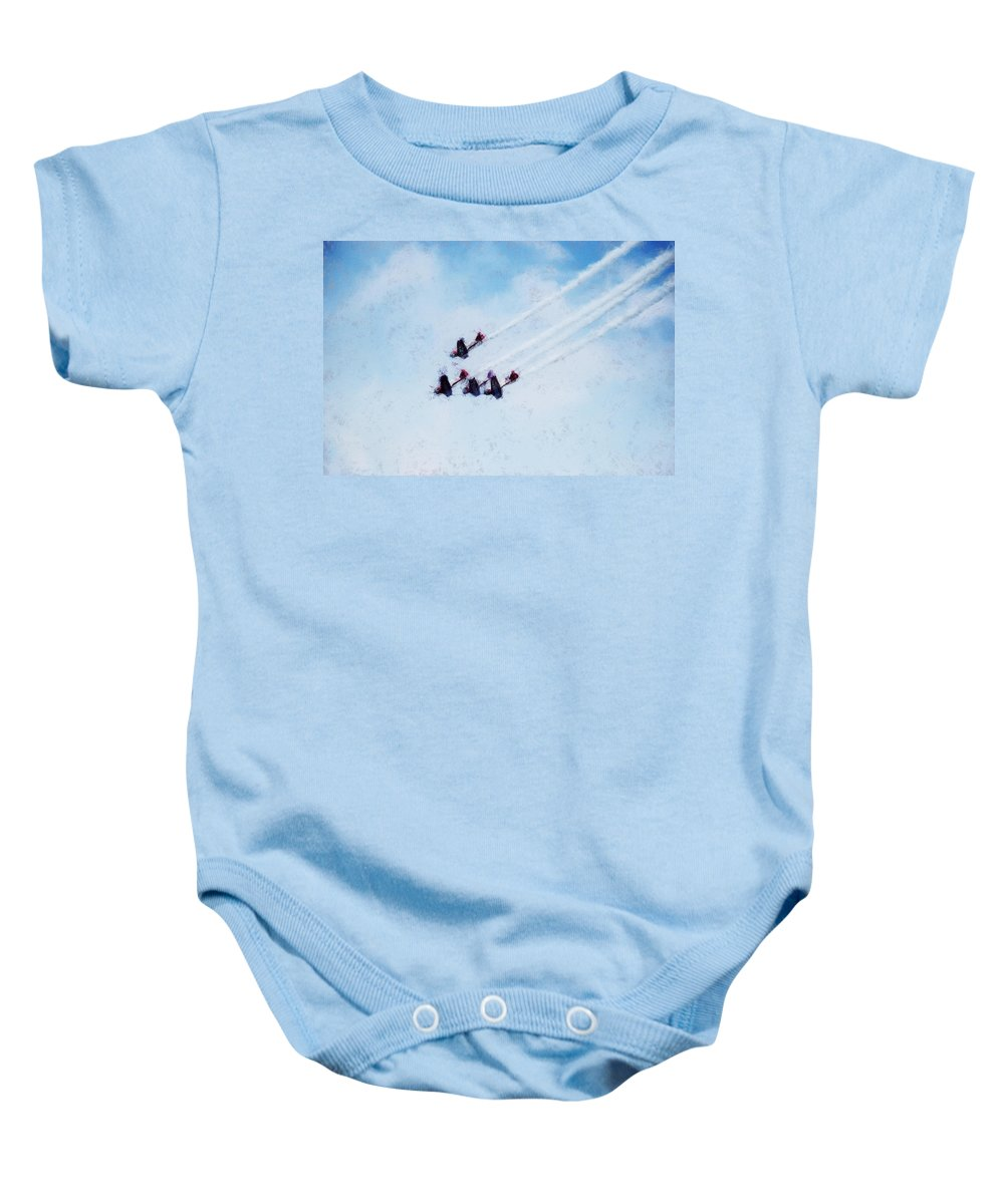 Chicago Baby Onesie featuring the digital art 0161 - Air Show - Acanthus by David Lange