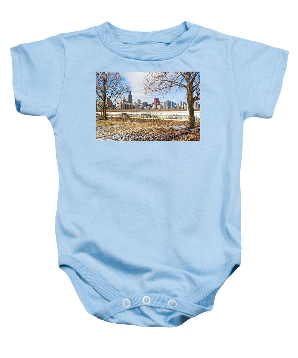 Winter Baby Onesie featuring the photograph 0452 Chicago Skyline by Steve Sturgill