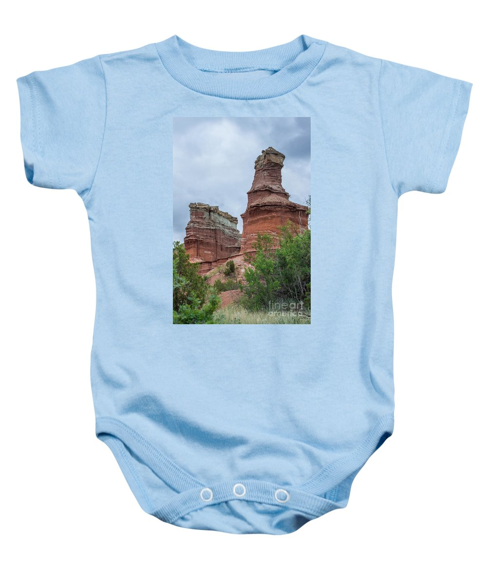 Lighthouse Baby Onesie featuring the photograph 07.30.14 Palo Duro Canyon - Lighthouse Trail 19e by Ashley M Conger