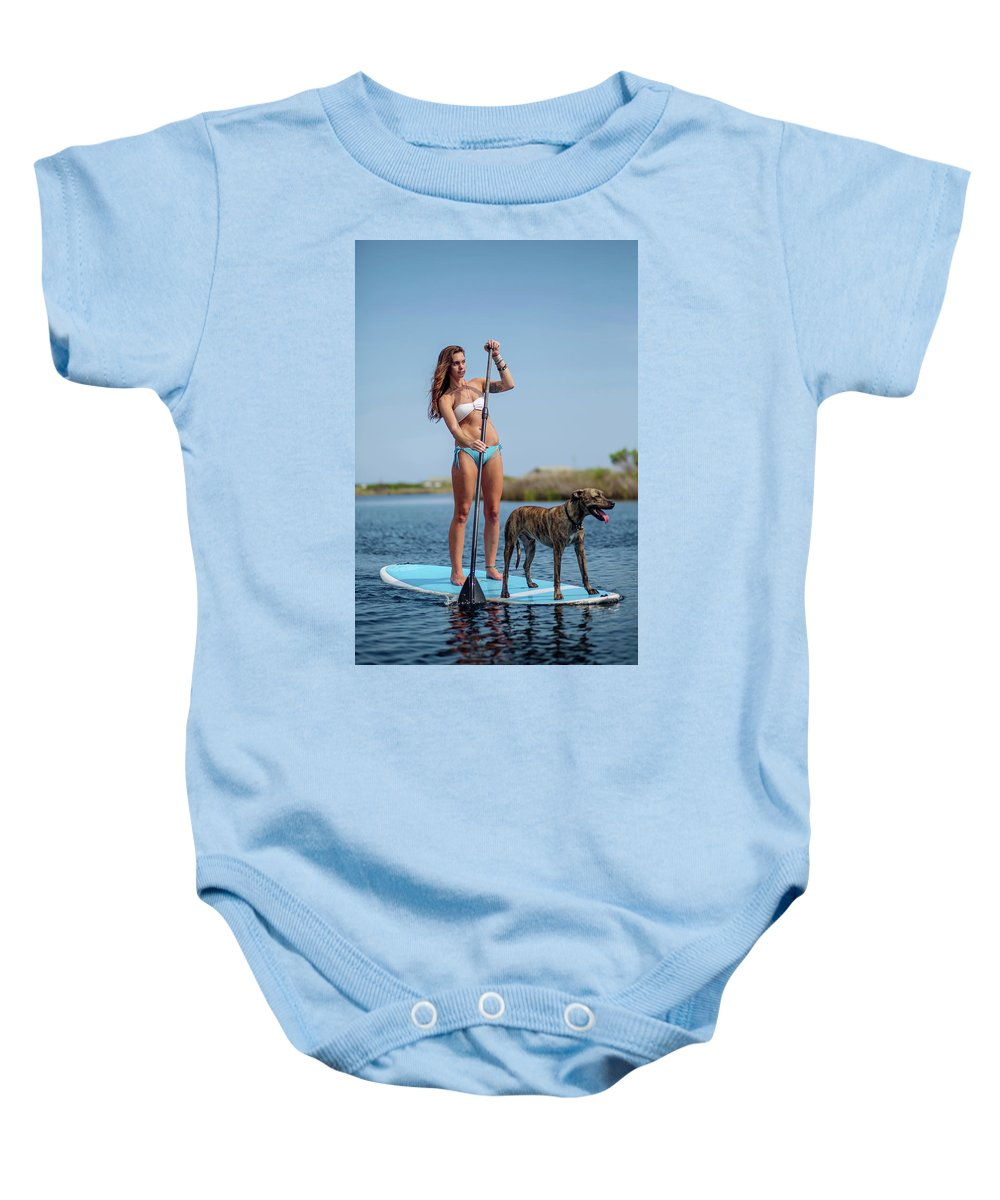 Animal Baby Onesie featuring the photograph A Young Woman And Her Dog Sup by Corey Nolen
