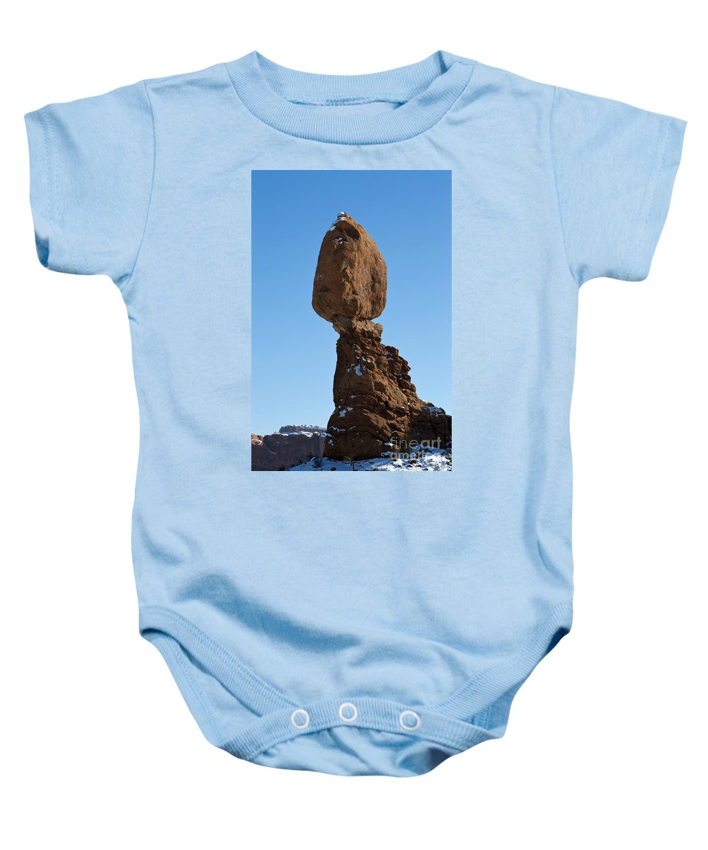 Arches Baby Onesie featuring the photograph Balanced Rock Arches National Park Utah by Jason O Watson