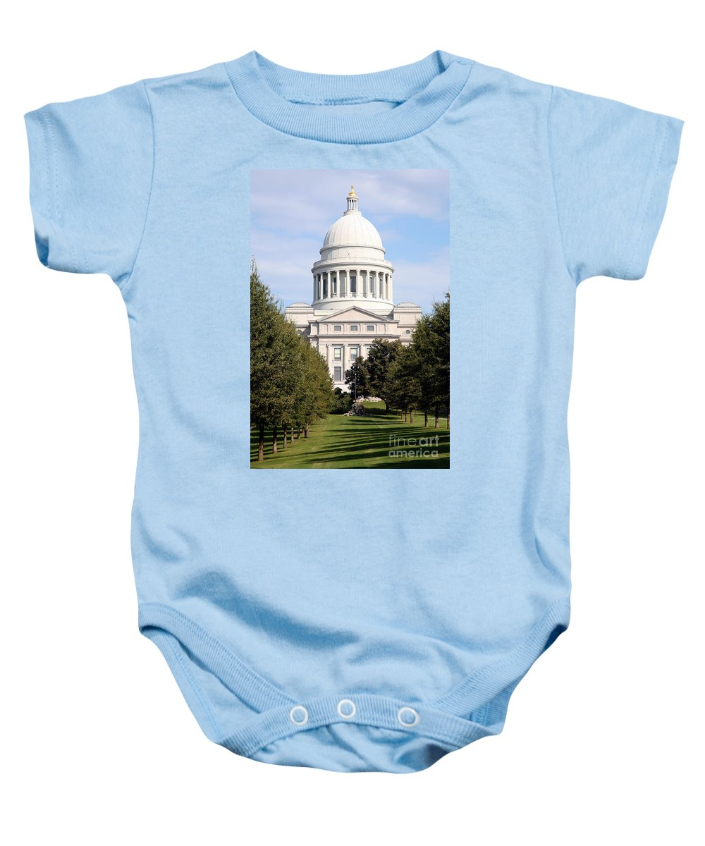 Capitol Building Baby Onesie featuring the photograph Capitol Building In Little Rock by Bill Cobb