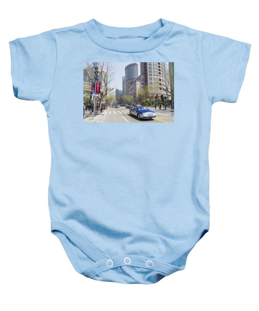 Architecture Baby Onesie featuring the photograph Central Shanghai In China by Jacek Malipan